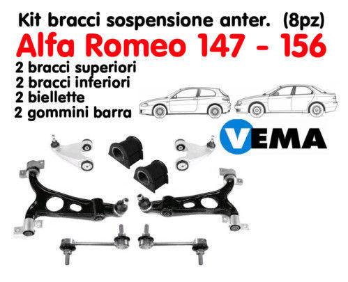 VEMA Kit 8 pezzi Bracci Biellette Testine Sospensione Anteriore Alfa 147-156